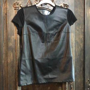 Ralph Lauren black faux leather top